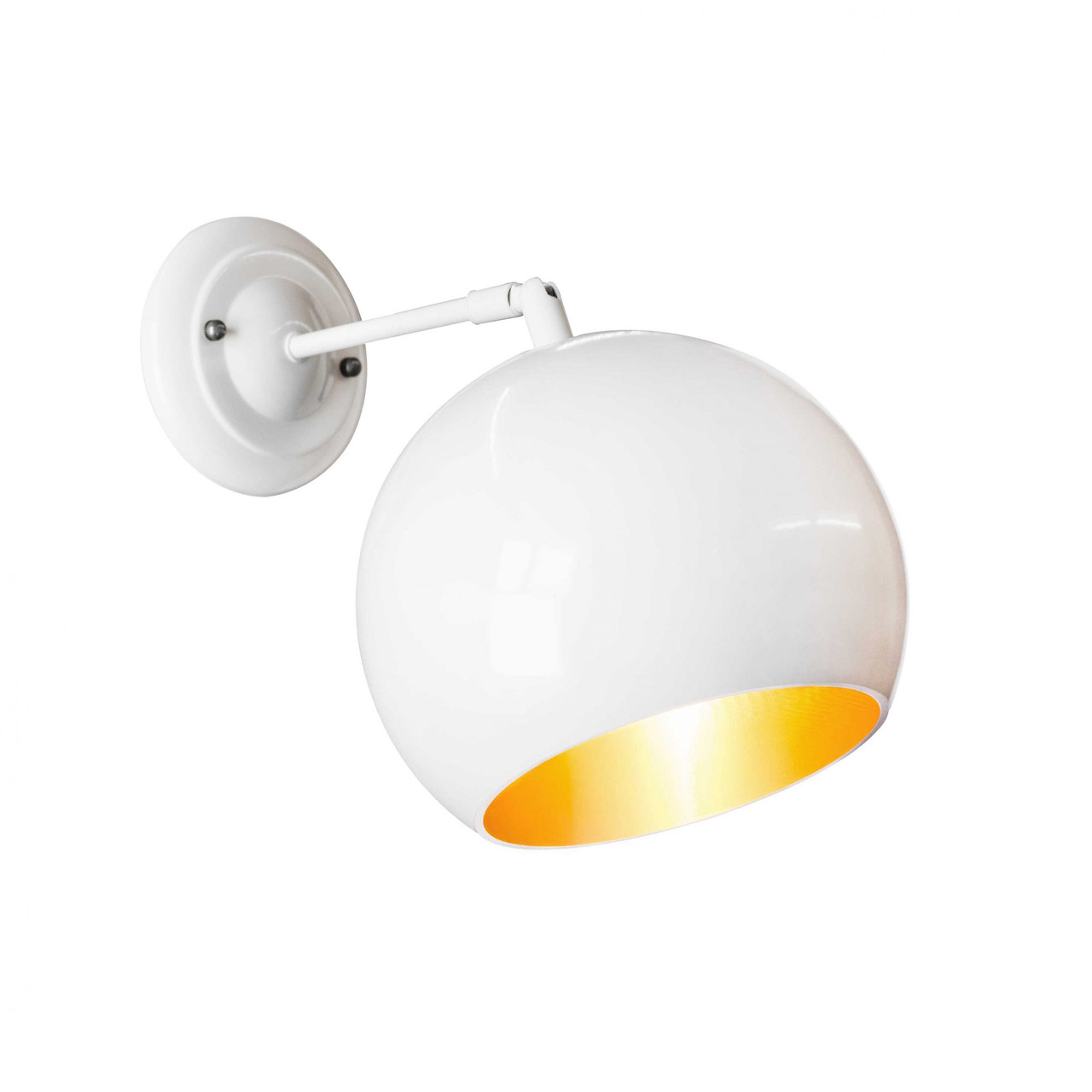 Бра в стилі лофт Msk Electric Куля NL 1815-1WH+GD ширина 180mm світильник настінний кулька