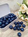 Темно-сині бусіни з дерева, діаметр 1,3 см, 50 шт/уп 15 грн, фото 3