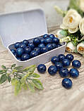 Темно-сині бусіни з дерева, діаметр 1,3 см, 50 шт/уп 15 грн, фото 2