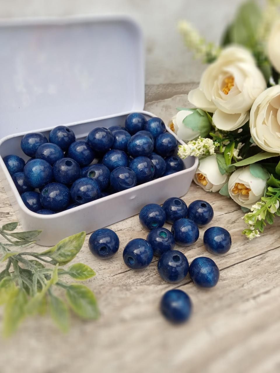 Темно-сині бусіни з дерева, діаметр 1,3 см, 50 шт/уп 15 грн