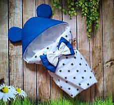 Конверт Одеяло для новорожденных на выписку с бантом и уголком лето 78х78см Микки белый