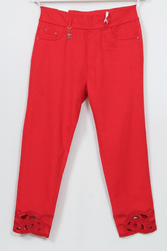 Турецкие женские летние красные брюки с оригинальным декором, размеры 48-54