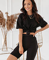 Женский костюм с велосипедками и свободной футболкой из трикотажа черный