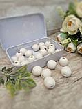 Білі бусіни з дерева, діаметр 1,3 см, 25 шт/уп 15 грн, фото 3