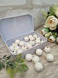 Білі бусіни з дерева, діаметр 1,3 см, 25 шт/уп 15 грн, фото 2