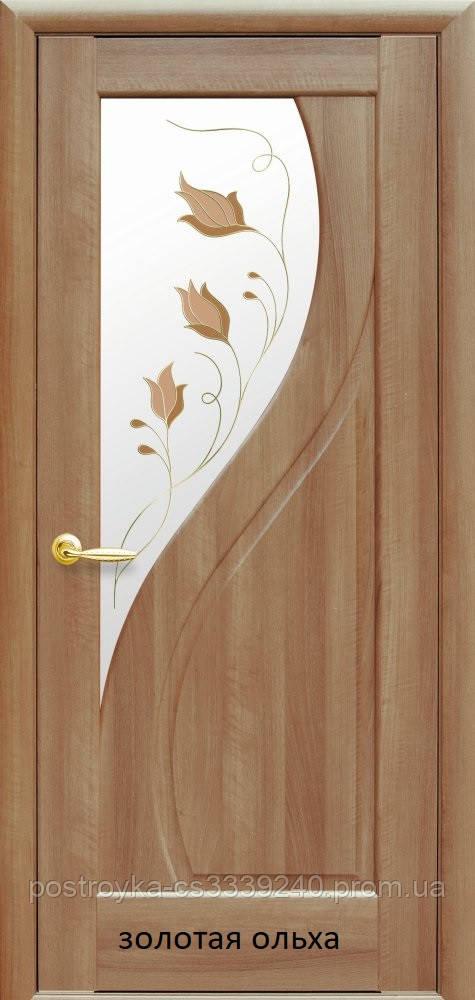 Двери межкомнатные Маэстра Прима Р1 Новый Стиль ПВХ со стеклом сатин 60, 70, 80, 90