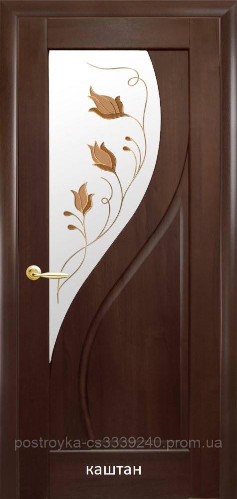 Двері міжкімнатні Маестра Прима Р1 Новий Стиль ПВХ зі склом сатин 60, 70, 80, 90