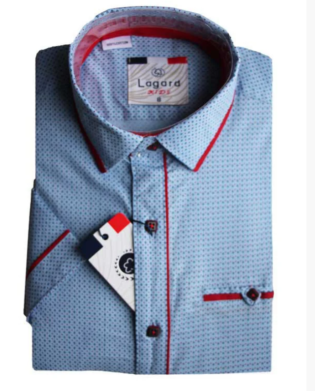 подростковая рубашка с коротким рукавом приталенная