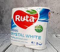 Туалетная бумага RUTA Classic CRYSTAL WHITE 2х слойная (уп-4 шт)