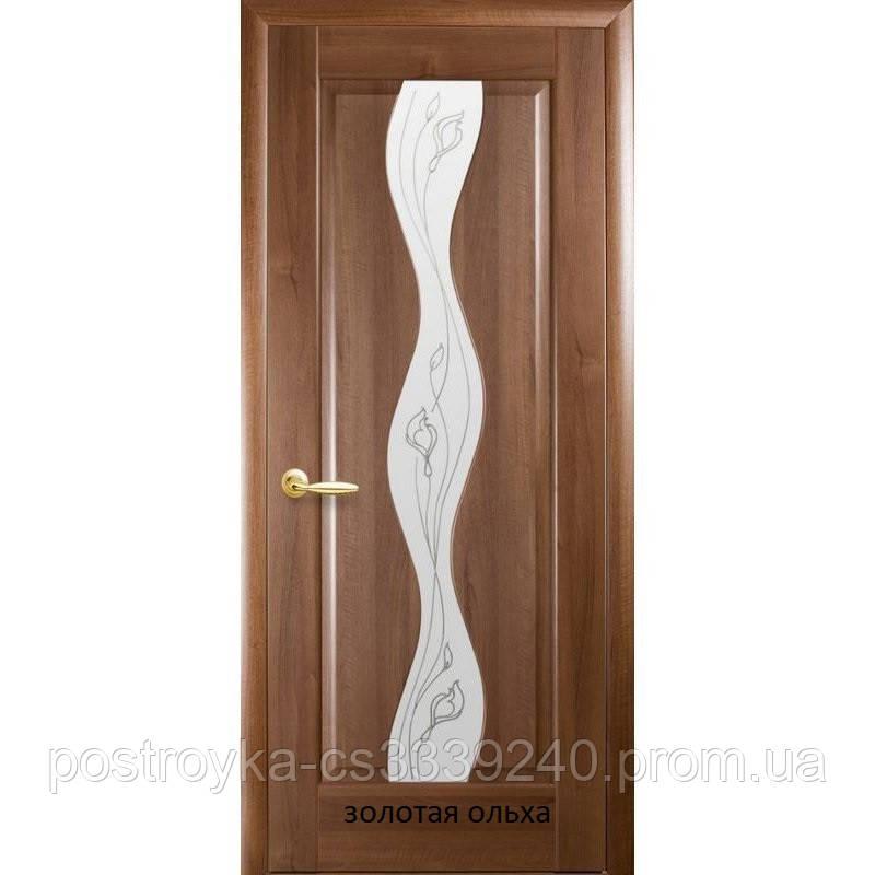 Двери межкомнатные Маэстра Волна Р2 Новый Стиль ПВХ со стеклом сатин 60, 70, 80, 90