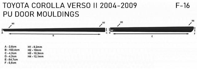 Молдинги на двері для Toyota Corolla Verso II 2004-2009