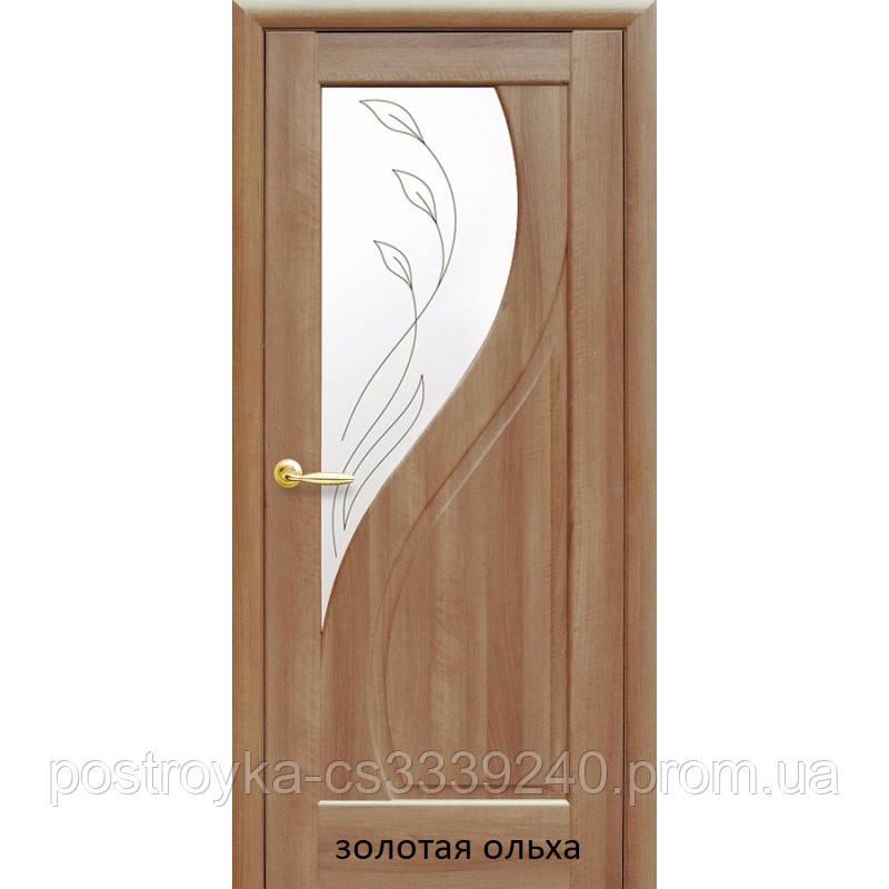 Двери межкомнатные Маэстра Прима Р2 Новый Стиль ПВХ со стеклом сатин 60, 70, 80, 90