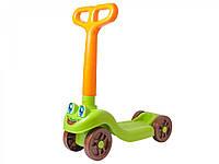 Самокат машинка зеленый с оранжевым
