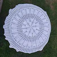 Скатерть ручной работы на круглый стол D 130 cм.Крючок.
