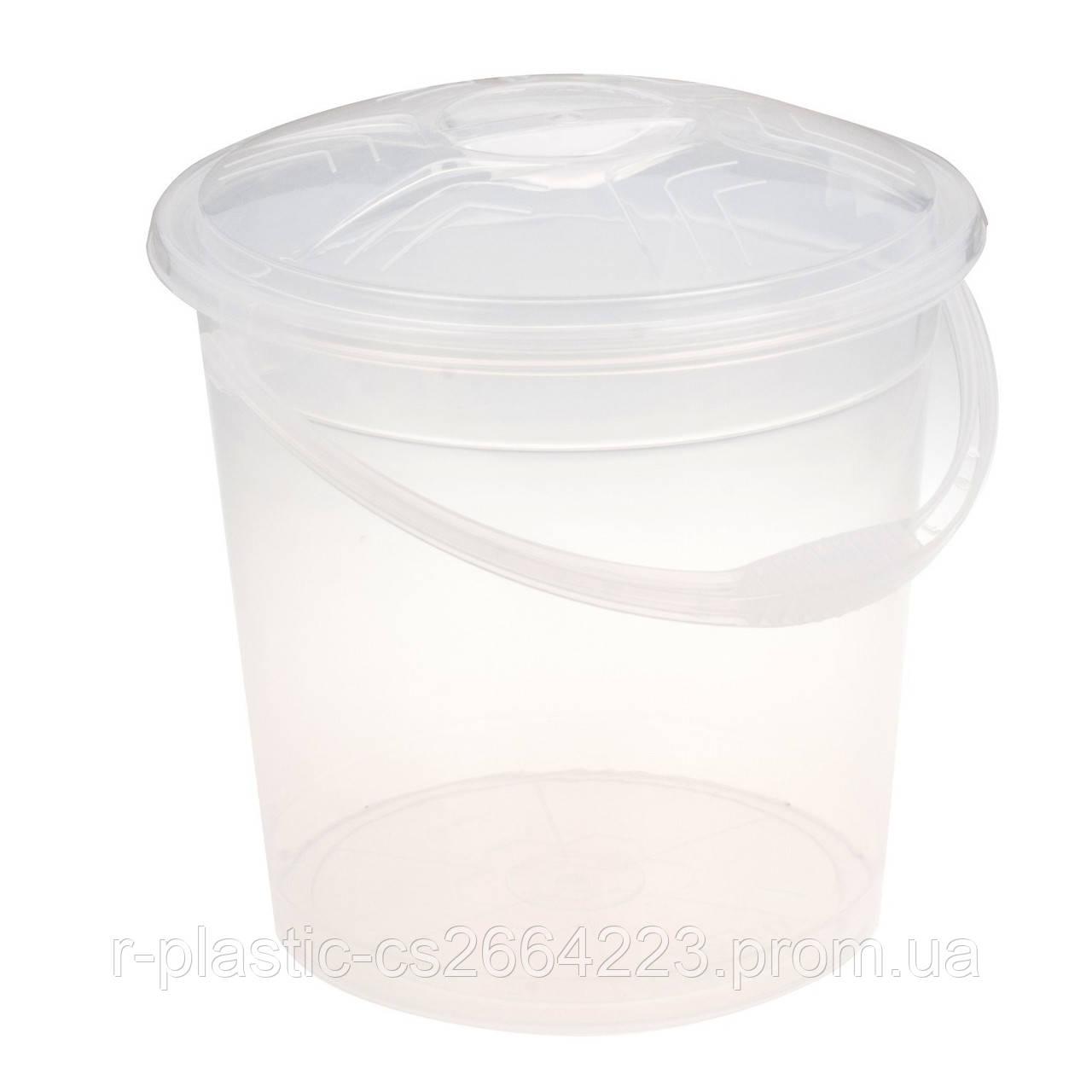 Ведро прозрачное с крышкой 15л R-Plastic белое