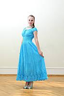 Платье  летнее, женское макси. Хлопок прошва. Индия. Голубой (44-48) М р.