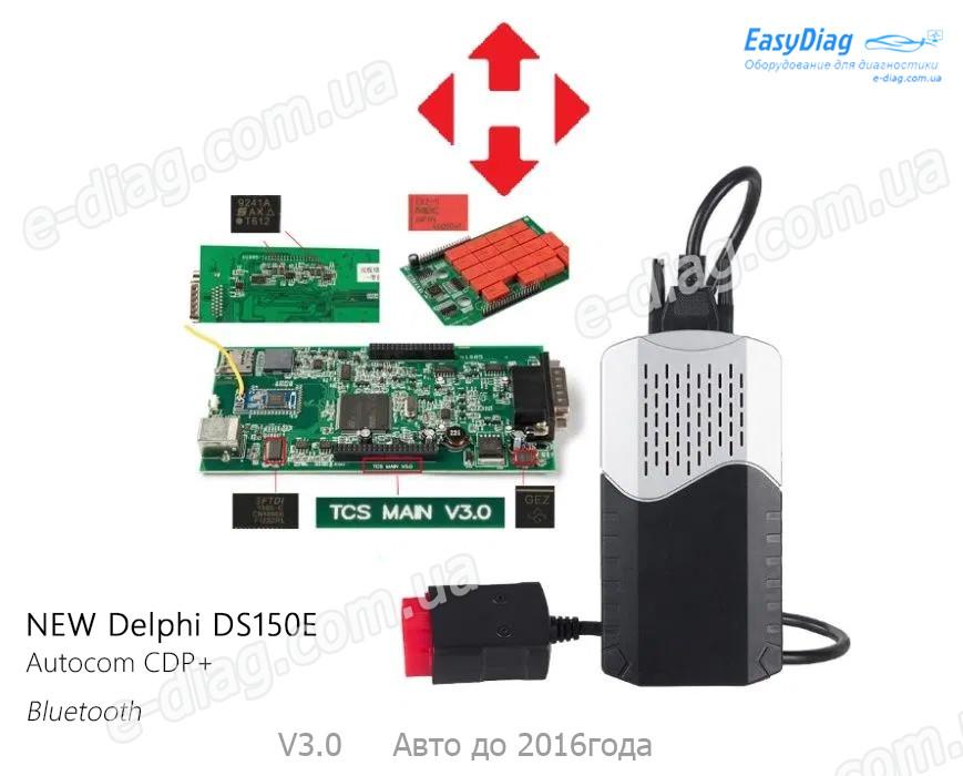 Мультимарочный диагностический сканер Delphi DS150E USB + Bluetooth, универсальный автосканер, двухплатный