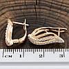 Серьги Xuping 26874 размер 19х8 мм вес 2.3 г белые фианиты позолота 18К, фото 3
