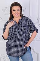 Женская стильная легкая летняя котоновая цветная блузка батал со змейкой на груди (р-ры 56-62) .  Арт-1050/11, фото 1
