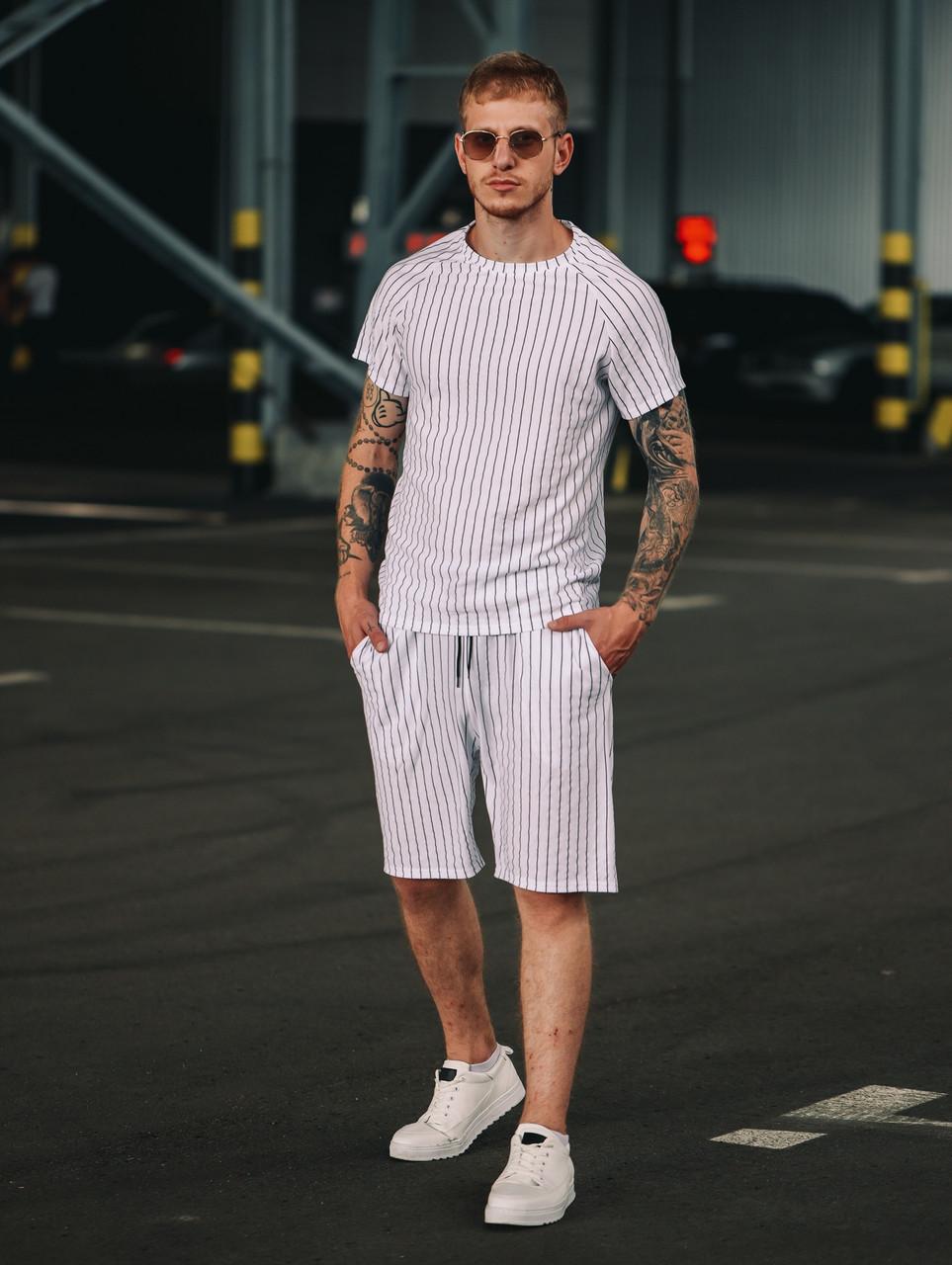 Чоловічий річний комплект в смужку (шорти та футболка), смугаста футболка, шорти в смужку