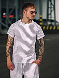 Чоловічий річний комплект в смужку (шорти та футболка), смугаста футболка, шорти в смужку, фото 3