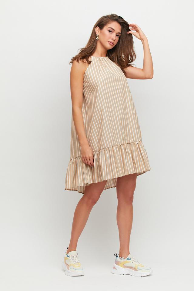 Платье женское в полоску лён бежевое