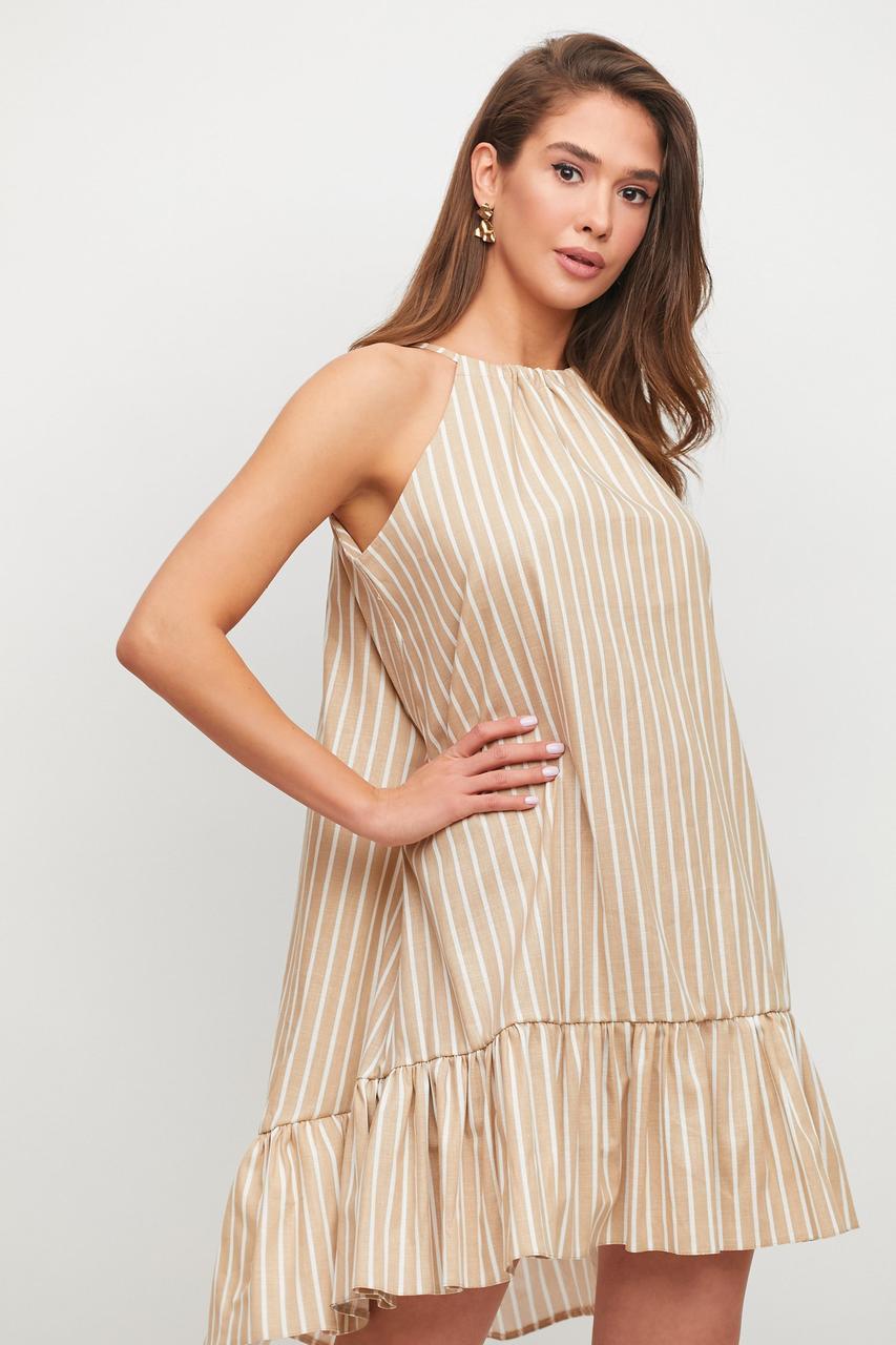 Платье женское в полоску лён бежевое свободное