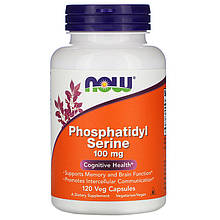"Фосфатидилсерин NOW Foods ""Phosphatidyl Serine"" поддержка памяти и мозга, 100 мг (120 капсул)"