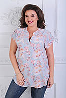 Нежная женская котоновая блуза больших размеров с цветочным принтом (р. 52-56) .  Арт-1005/11, фото 1