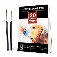 Бумага для акварели Watercolor Pad  А4 21 x 29.7 см, 300 г/м2 20 листов + 2 кисти