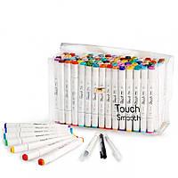 Набор двусторонних маркеров Touch Smooth для скетчинга на спиртовой основе 80 штук Разноцветные