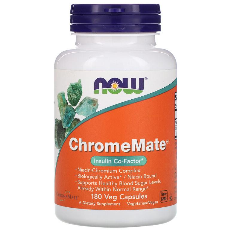 """Полиникотинат хрома NOW Foods """"ChromeMate"""" поддерживает здоровый уровень сахара в крови (180 капсул)"""