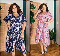 Р 52-64 Летнее цветное платье на запах, ниже колена Батал 21864, фото 1