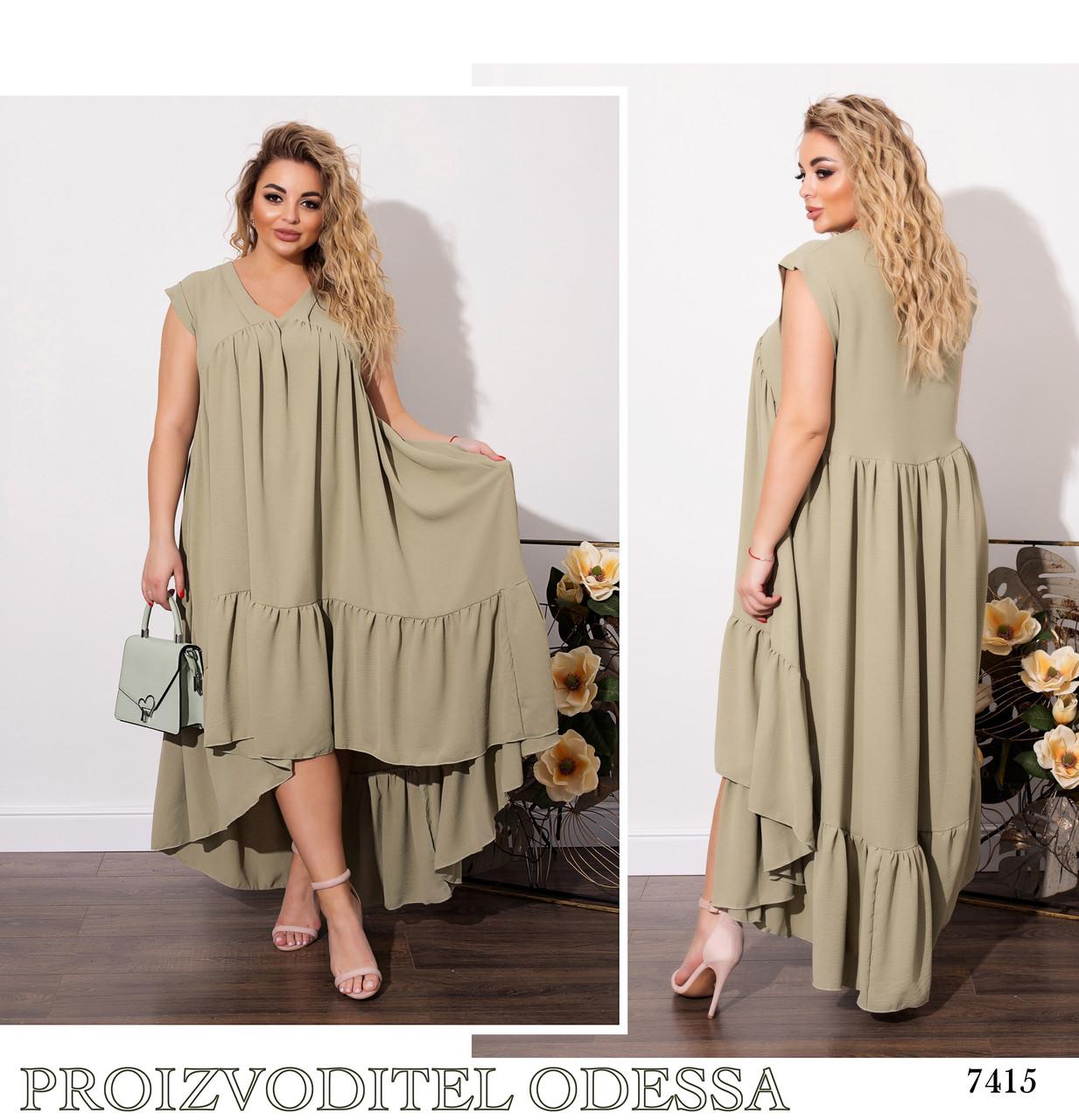 Платье летнее каскад свободного фасона турецкий поплин 50-52,54-56,58-60,62-64