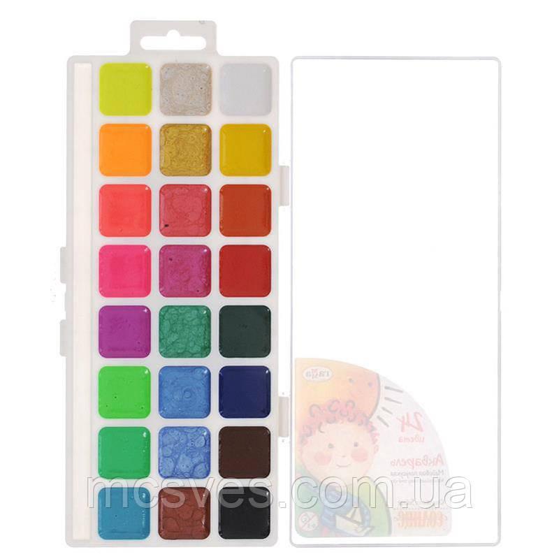 """Фарби акварельні """"Оранжеве сонце"""", напівсухі, 24 кольори."""