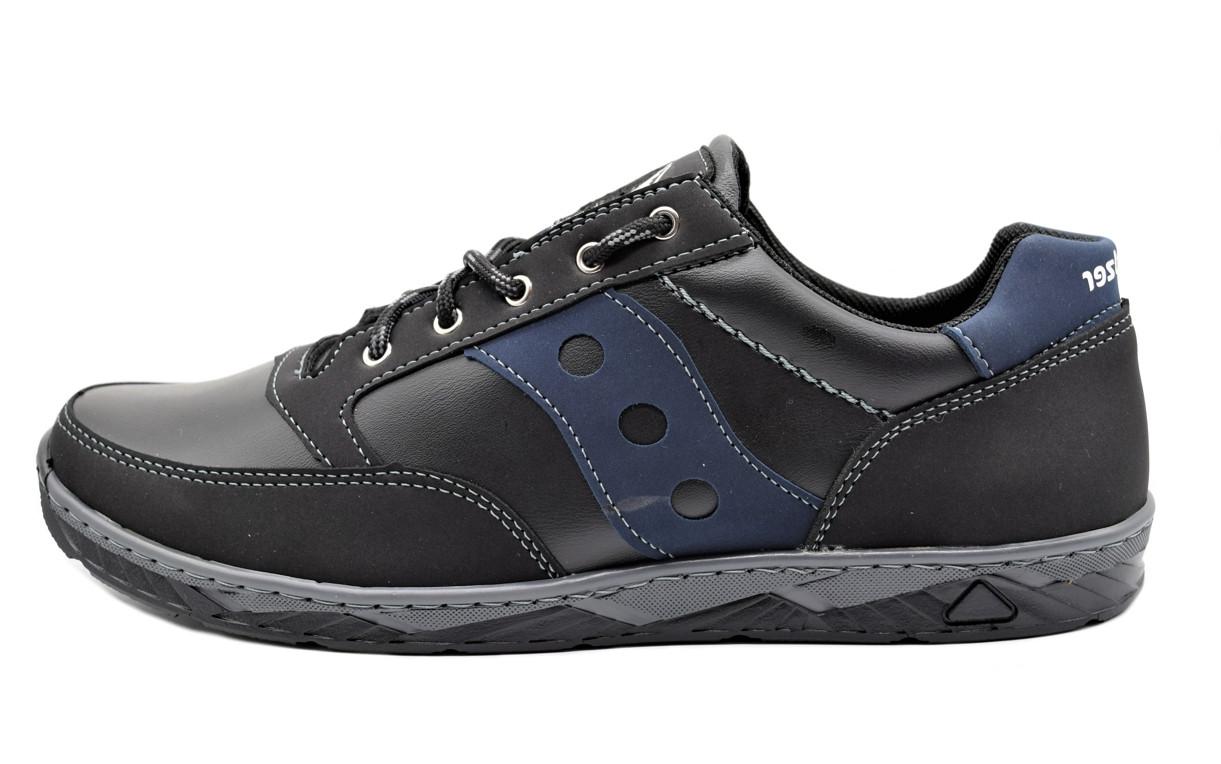 Кросівки чоловічі демісезонні стильні, чорні з синім