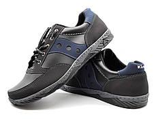 Кросівки чоловічі демісезонні стильні, чорні з синім, фото 2