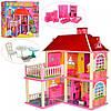 Кукольный домик с мебелью, 2 этажа, Bambi, 25,5*83,5*70 см, 6980