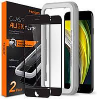 Захисне скло Spigen для iPhone SE 2020/8/7 AlignMaster, Black (2шт) (AGL01302), фото 1