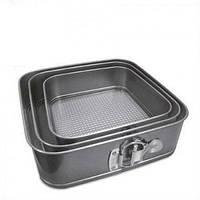 Формы для выпечки разъемные квадратные набор из 3 шт Stenson MH-0760 Grey