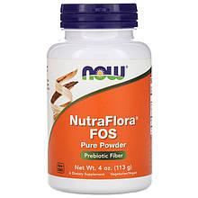"""Фруктоолигосахариды NOW Foods """"NutraFlora FOS Pure Powder"""" натуральная клетчатка, чистый порошок (113 г)"""
