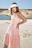 Свободное летнее платье хлопок прошва цвет : белый /розовый/синий /мята р. S, M , L, XL
