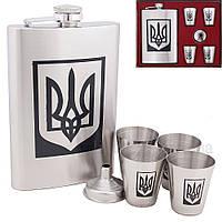 Подарочный набор фляга Герб Украины четыре стаканчика и лейка , фото 1