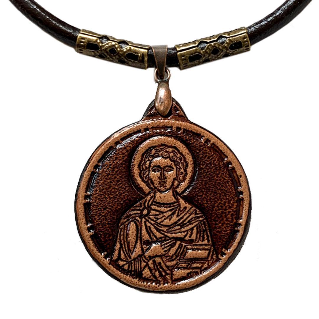 Пантелеймон святой целитель Ладанка нательная из Кожи (30х30х3мм)