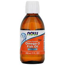 """Рыбий жир NOW Foods """"Omega-3 Fish Oil"""" со вкусом лимона (200 мл)"""