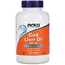"""Жир печени трески NOW Foods """"Cod Liver Oil"""" поддержка сердечно-сосудистой системы, 650 мг (250 гелевых капсул)"""