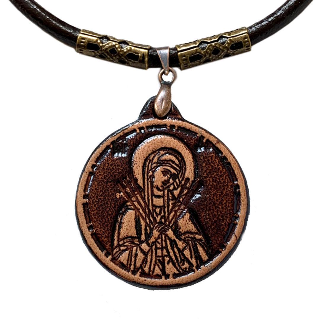 Семистрельная Пресвятая Богородица Ладанка нательная из Кожи (30х30х3мм)