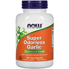 """Чеснок NOW Foods """"Super Odorless Garlic"""" концентрированный, без запаха (180 капсул)"""
