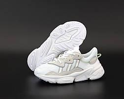 Кроссовки Adidas Ozweego White Grey (Бело-серые Адидас Озвиго 36-45 женские и мужские размеры) рефлективные