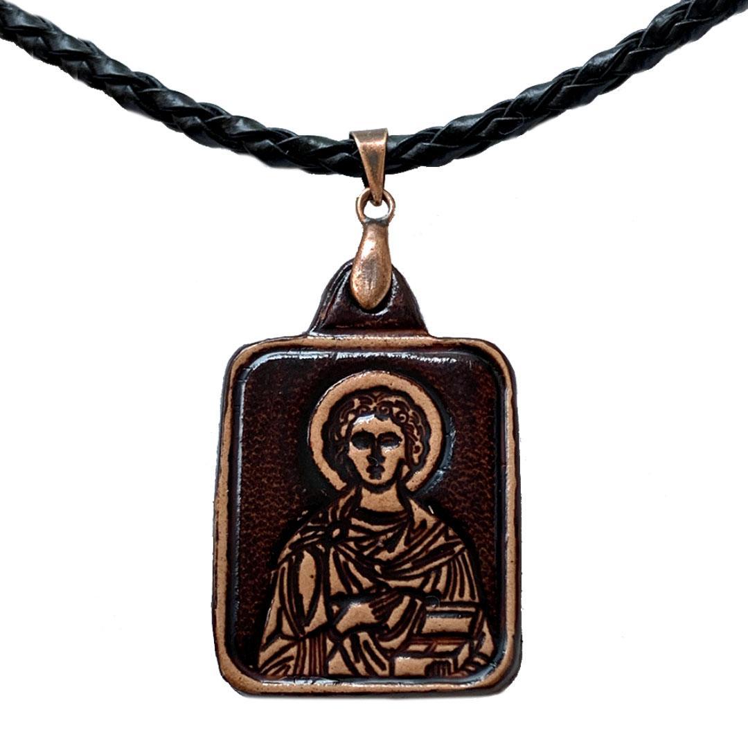 Пантелеймон святой целитель Ладанка нательная из Кожи (20х30х3мм)